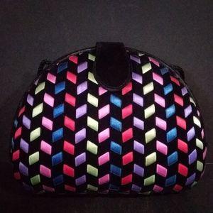 Handbags - Black Suede Multicolored Ribbon Clutch